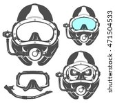 set of scuba diving elements...