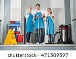group of happy young janitor... | Shutterstock . vector #471509597