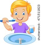 cute little boy brushing teeth | Shutterstock .eps vector #471511823