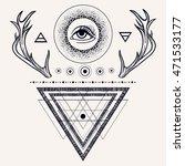 blackwork tattoo flash.... | Shutterstock .eps vector #471533177