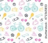 sport fitness objects pattern | Shutterstock .eps vector #471565853