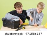 father and son to build together | Shutterstock . vector #471586157