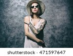 beautiful young woman with...   Shutterstock . vector #471597647