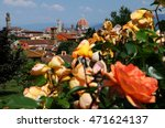 Stock photo yellow roses at giardino delle rose florence with cathedral santa maria del fiore on background 471624137