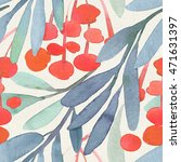 seamless watercolor floral...   Shutterstock . vector #471631397
