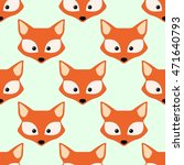 cute fox face. seamless... | Shutterstock .eps vector #471640793