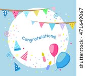 blue greeting card with balloons | Shutterstock . vector #471649067