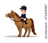 cheerful boy jockey riding a... | Shutterstock .eps vector #471659387