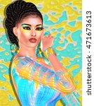brunette beauty and fashion... | Shutterstock . vector #471673613