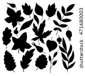 vector silhouettes of leaves... | Shutterstock .eps vector #471680003