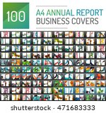 Mega collection of 100 business annual report brochure templates, A4 size covers created with geometric modern patterns - squares, lines, triangles, waves | Shutterstock vector #471683333