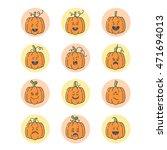 vector halloween pumpkin linear ...   Shutterstock .eps vector #471694013