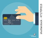 hand with credit card. vector... | Shutterstock .eps vector #471709313