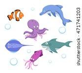 vector cartoon different sea...