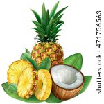 pineapples and cut coconut with ... | Shutterstock .eps vector #471756563