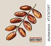 drawing date fruit twig.... | Shutterstock .eps vector #471767297