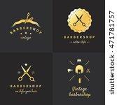 gold barbershop logo vector set.... | Shutterstock .eps vector #471781757