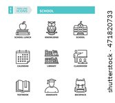 flat symbols about school. thin ... | Shutterstock .eps vector #471820733