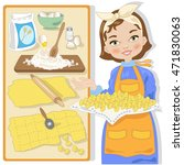 housewife with recipe for fresh ... | Shutterstock .eps vector #471830063