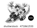 bouquet with tropical flowers ... | Shutterstock .eps vector #471861533