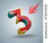 number three vectors 3d modern... | Shutterstock .eps vector #471872933