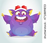 happy cartoon monster.... | Shutterstock .eps vector #471889853