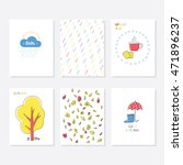 set of 6 cute creative cards... | Shutterstock .eps vector #471896237