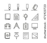 writing tools icons  bold line | Shutterstock .eps vector #471923723