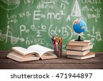 books with globe on the school... | Shutterstock . vector #471944897
