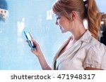 side portrait of a smiling...   Shutterstock . vector #471948317