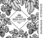 beer hop frame . engraved style ... | Shutterstock .eps vector #471964133