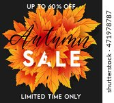 autumn sale flyer template with ...   Shutterstock .eps vector #471978787