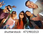 happy friendship concept with... | Shutterstock . vector #471981013