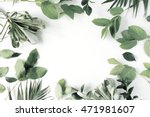 frame with flowers  branches ... | Shutterstock . vector #471981607