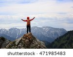 cheering woman hiker open arms... | Shutterstock . vector #471985483