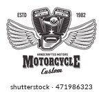 motorcycle engine with wings... | Shutterstock .eps vector #471986323