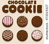 cartoon chocolate cookie ... | Shutterstock .eps vector #472015327