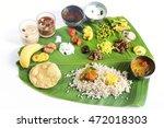 onam feast on banana leaf...   Shutterstock . vector #472018303