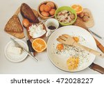 fried eggs in the frying pan... | Shutterstock . vector #472028227
