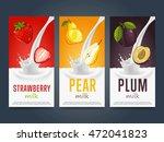 fruits milkshake splash dessert ... | Shutterstock .eps vector #472041823