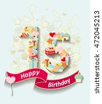 card invitation with  number... | Shutterstock .eps vector #472045213
