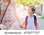 little 7 years old boy going to ... | Shutterstock . vector #472077757