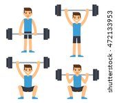 cartoon man barbell exercises ... | Shutterstock .eps vector #472133953