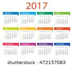 2017 calendar   illustration... | Shutterstock .eps vector #472157083