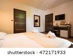 modern beautiful hotel bedroom...   Shutterstock . vector #472171933