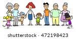 happy cartoon patchwork family... | Shutterstock . vector #472198423
