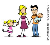 happy cartoon family with baby... | Shutterstock . vector #472198477