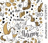 cute unicorn. magic and fairy... | Shutterstock .eps vector #472199197