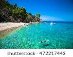 Small photo of Beautiful Robinson beach on the east coast of Sithonia on Halkidiki, Greece.