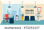 Colored flat modern office interior how to optimize space for favorably arranged workplace vector illustration | Shutterstock vector #472251217